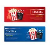 De banner en de coupon van de filmtijd Het elementenontwerp van het bioskoopmalplaatje stock illustratie