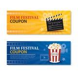 De banner en de coupon van het filmfestival Het elementenontwerp van de bioskoopfilm Royalty-vrije Stock Fotografie