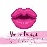 De banner of de hand van letters voorzien van de beeldverhaal het roze kus op witte achtergrond De uitnodiging van het liefdeconc stock illustratie