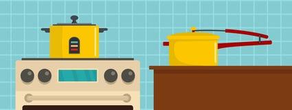 De banner horizontale, vlakke stijl van het keukenhulpmiddel stock illustratie
