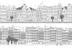 De banner van Amsterdam en van Parijs royalty-vrije illustratie