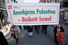 ` De banner van boycotisraël ` bij protestdemonstratie Stock Fotografie