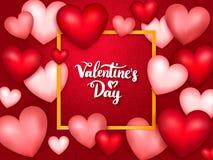 De banner van de Dag van valentijnskaarten met harten Stock Afbeeldingen