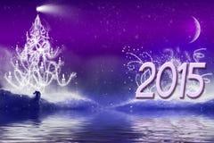 2015 de banner van de achtergrond nieuwjaargroet landschap Royalty-vrije Stock Fotografie