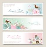 De banner van de bloem & van de vogel Royalty-vrije Stock Fotografie