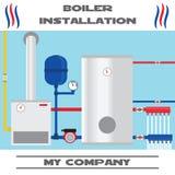 De banner van de boilerinstallatie Vlak pictogram Royalty-vrije Stock Afbeeldingen