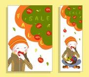 De banner van de dalingsverkoop met leuk meisje Stock Afbeeldingen