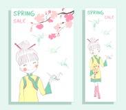De banner van de de lenteverkoop met leuk meisje Royalty-vrije Stock Afbeelding