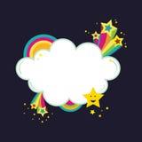 De banner van de de regenboogwolk van Starburst Stock Afbeelding