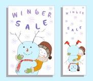 De banner van de de winterverkoop met leuk meisje Stock Foto