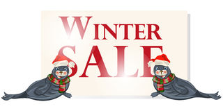 De banner van de de winterverkoop, teken, achtergrond met polaire dichtung Royalty-vrije Stock Fotografie