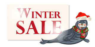 De banner van de de winterverkoop, teken, achtergrond met polaire dichtung Stock Afbeelding