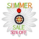 De banner van de de zomerverkoop met abstract madeliefje een rood lieveheersbeestje op a op een witte achtergrond royalty-vrije illustratie