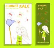 De banner van de de zomerverkoop met leuk meisje Royalty-vrije Stock Fotografie