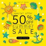 De banner van de de zomerverkoop met voorwerpen van het mariene leven, helder ontwerp Vectoreps 10 Royalty-vrije Stock Foto