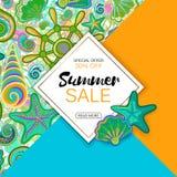 De banner van de de zomerverkoop met voorwerpen van het mariene leven, helder ontwerp Vectoreps 10 Royalty-vrije Stock Foto's