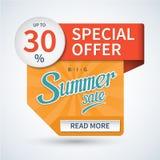 De banner van de de zomerverkoop Speciale aanbieding vectormalplaatje Royalty-vrije Stock Foto