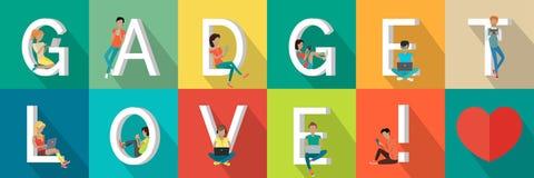 De Banner van de gadgetliefde royalty-vrije illustratie