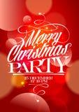De banner van de Kerstmispartij met bokehlichten Stock Foto's