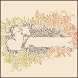 de banner van de lijntekening met harten en bloem vector illustratie