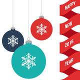 De Banner van de nieuwjaargroet met het Verfraaide Speelgoed van de Kerstmisbal, Vlakke Vectorillustratie Stock Afbeeldingen