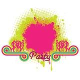 De banner van de partij met plons Stock Foto