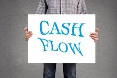 De banner van de persoonsholding met cash flowbericht. stock afbeelding