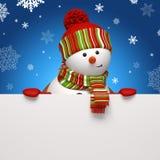 De banner van de sneeuwman op blauw Stock Foto