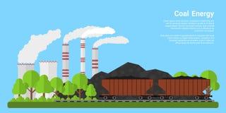 De banner van de steenkoolenergie royalty-vrije illustratie
