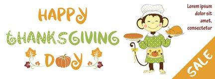 De banner van de thanksgiving dayverkoop met leuke aap Stock Fotografie