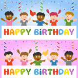 De Banner van de verjaardag met Jonge geitjes Royalty-vrije Stock Fotografie