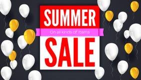 De banner van de verkooptekst Klaar te drukken en gebruik in reclame van producten Verkopende achtergrond met het vliegen kleurri Royalty-vrije Stock Foto's