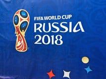 De banner van FIFA 2018 in Moskou stock afbeelding
