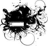 De banner van Grunge met bloemenelement