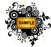 De banner van Grunge met cirkels en bloemenelementen - vector royalty-vrije illustratie