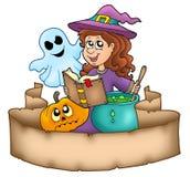 De banner van Halloween met karakters Stock Fotografie