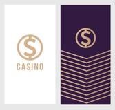 De banner van het casinoembleem, het pictogram van het dollarteken, etiketsymbool, logotype concept Voor vlieger, affiche geschik Stock Fotografie