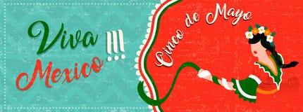 De banner van het Cincode Mayo Web met het Latijnse vrouw dansen