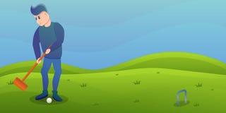 De banner van het het croquetconcept van het mensenspel, beeldverhaalstijl vector illustratie