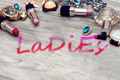 De banner van het damesneon Illustratie reeks schoonheidsmiddelen voor dame royalty-vrije stock foto