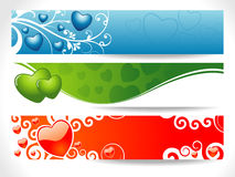 De Banner van het Hart van drie Valentijnskaart Stock Fotografie