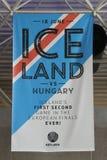 De banner van het het voetbalteam van IJsland in het geheugen van Euro Kop 2016 spelen Stock Fotografie