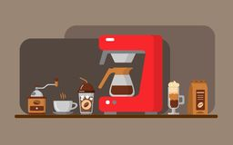 De banner van het koffiemateriaal Vector illustratie Royalty-vrije Stock Afbeeldingen