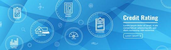 De Banner van het de Kopbalweb van de Kredietstandaard met Schuld, Creditcard, & Krediet stock illustratie