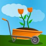 De banner van het de kruiwagenconcept van de landbouwbedrijfbloem, beeldverhaalstijl stock illustratie