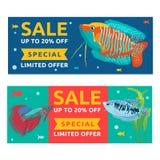 De banner van het malplaatjeontwerp voor speciale verkoop Achtergrond met beeldverhaalvissen, water en bel Kortingsconcept met vi Stock Afbeelding