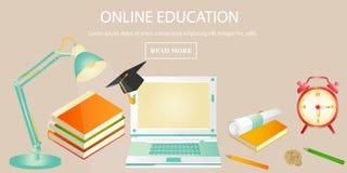 De banner van het onderwijsconcept voor online onderwijs Stock Afbeeldingen