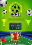 De banner van het de sportspel van de voetbalgelijke met voetbalgebied Royalty-vrije Stock Afbeeldingen