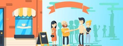 De banner van het stadsleven met grafieken en andere elementen Vector illustratie stock illustratie