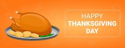De banner van het thanksgiving dayconcept, beeldverhaalstijl stock illustratie